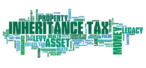 Inheritance tax. Word cloud illustration.