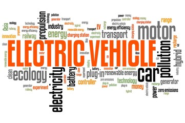 Electric car. Word cloud illustration.