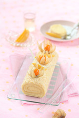 Tropical Swiss Roll Cake with Mango Cream Cheese Filling