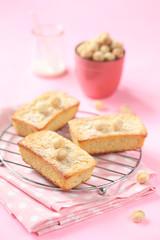 Blondies - White Chocolate Cakes with Macadamia Nuts