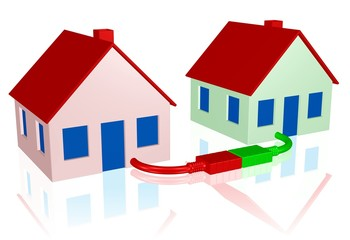 zwei digital verbundene Häuser