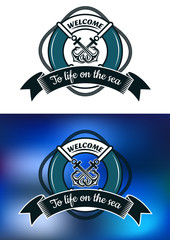 Nautical themed badge with life buoy