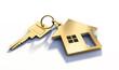 canvas print picture - Goldener Schlüssel mit Haussymbol