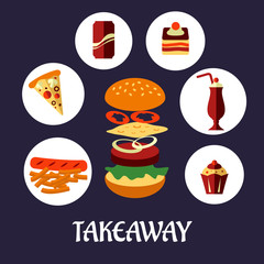 Takeaway food flat poster design