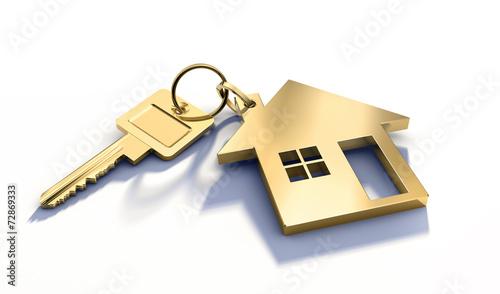 canvas print picture Goldener Schlüssel mit Haussymbol