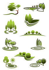 Green trees in landscapes icons