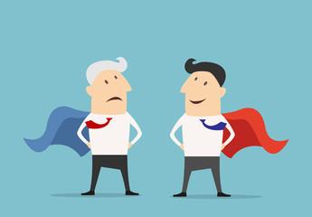 Cartoon Super hero businessman characters