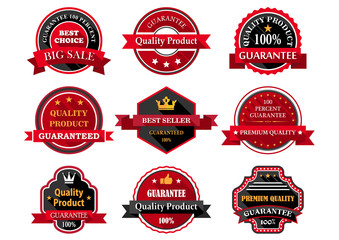 Flat quality product guarantee badges or labels