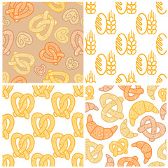 Set of bakery seamless patterns