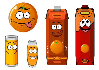 Cartoon orange and juice characters