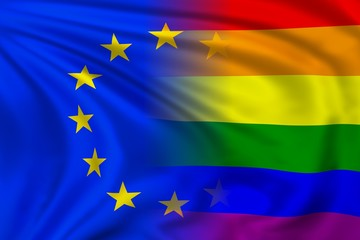 EU and rainbow flag