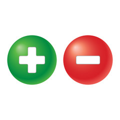 plus and minus - two balls in green and red colour