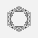 Fototapety Hexagon, geometric element, line design, vector illustration