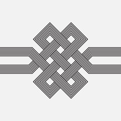 Intertwined pattern, square vector element, ribbon
