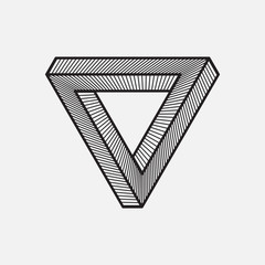 Impossible triangle, geometric element, vector illustration
