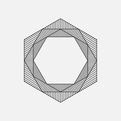 Hexagon, geometric element, line design, vector illustration
