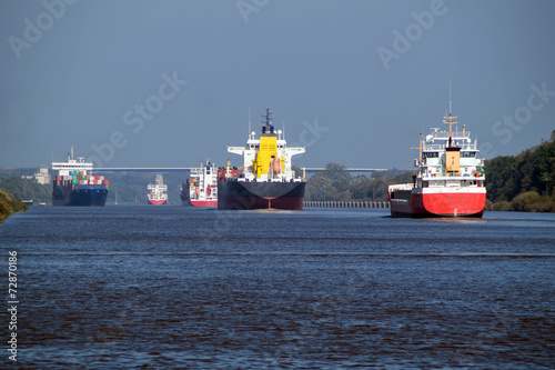 Five Freighters on Kiel Canal - 72870186