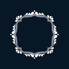 Monogram frame template, swirl and floral design