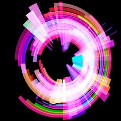 Abstract radioactive circle at an angle. Raster.
