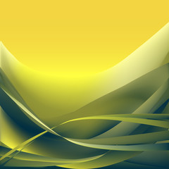 Yellow and khaki waves abstract background
