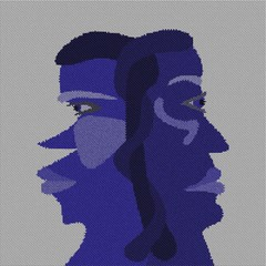 Two faces head - abstract surreal  illustration of schizophrenia