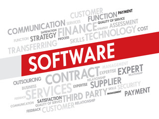 Software related items word cloud