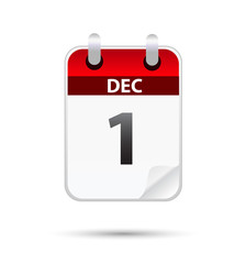 1st December calender on white