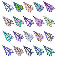 Set of different paper airplanes. Raster