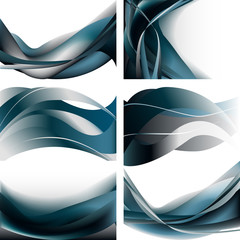 Set waves abstract background blue dark isolated