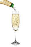 Champagne pouring into a glass.