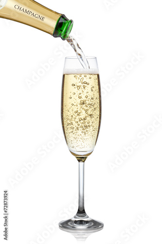 Fotobehang Bar Champagne pouring into a glass.