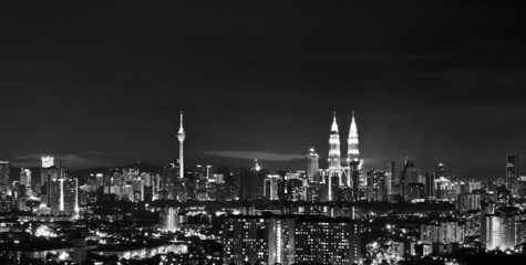 Kuala Lumpur skyline at night in black and white