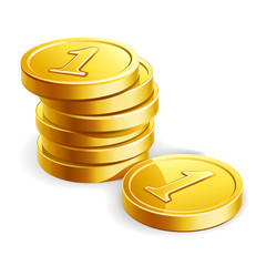 Stack of golden coins isolated on white