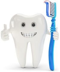 Zahn mit Zahnbürste Daumen hoch
