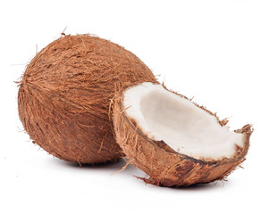 Two coconut one of which split isolated
