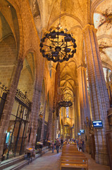 Interior of the Gothic Barcelona Cathedral (Catedral de Barcelon