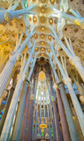 Maginificent interior of the Basilica de la Sagrada Familia, Bar