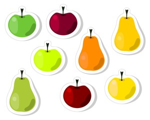Red, green, yellow, orange, apple and pear fruit stickers