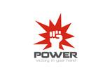 Fist Logo design vector template. Power strength logotype - 72875908