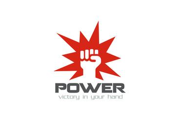 Fist Logo design vector template. Power strength logotype