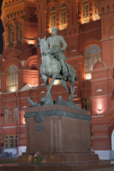 he monument to Marshal Zhukov night. Moscow