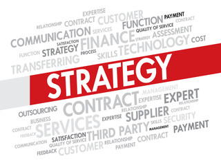 Strategy and management concept in word tag cloud vector
