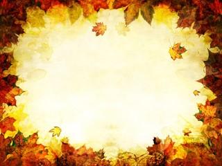 autumn leaves golden frame background