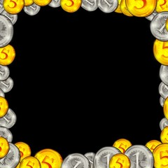 frame coins isolated on black