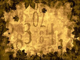 autumn leaves time numbers vintage background