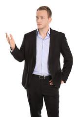 Skeptischer pessimistischer isolierter Geschäftsmann mit Hand
