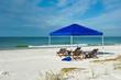 Leinwandbild Motiv Beach Shelter and Chairs