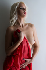 Sexy topless blonde covered with wet cloth