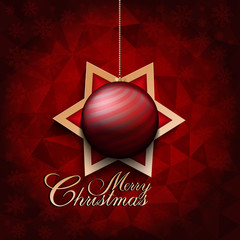 Christmas bauble and star on abstract background
