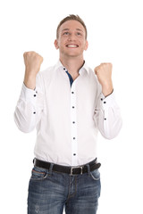 Successful cheering isolated young blond man making fist gesture